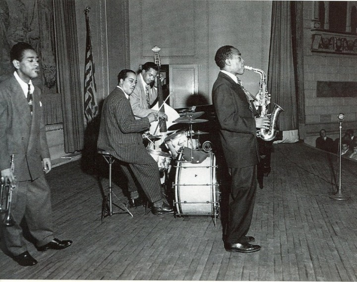Dizzy Gillespie, Harold West, Slam Stewart and Charlie Parker performing at a Town Hall concert in NYC, circa 1945.